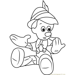 Pinocchio Looking his Hands Free Coloring Page for Kids