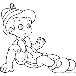 Pinocchio Sitting Down Free Coloring Page for Kids