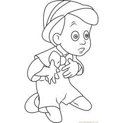Pinocchio Sitting and Looking Free Coloring Page for Kids