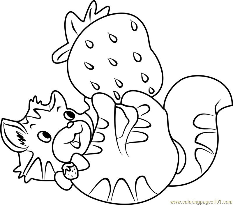 Custard the Cat Playing Coloring Page