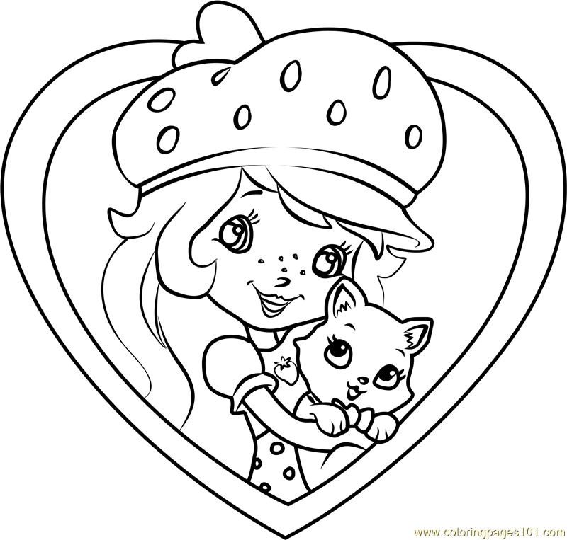 Custard the Cat with Shortcake Coloring Page