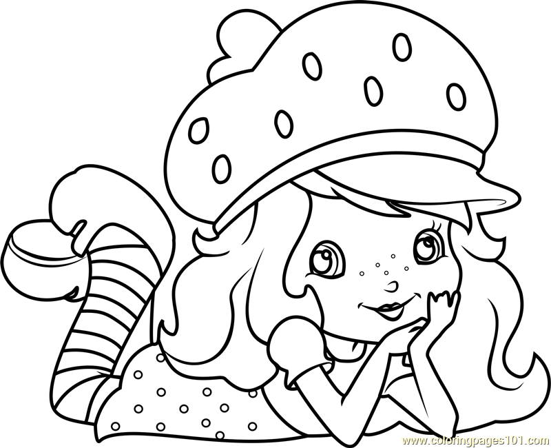 Cute Strawberry Shortcake Coloring Page Free Strawberry
