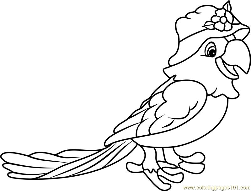 papaya parrot coloring page