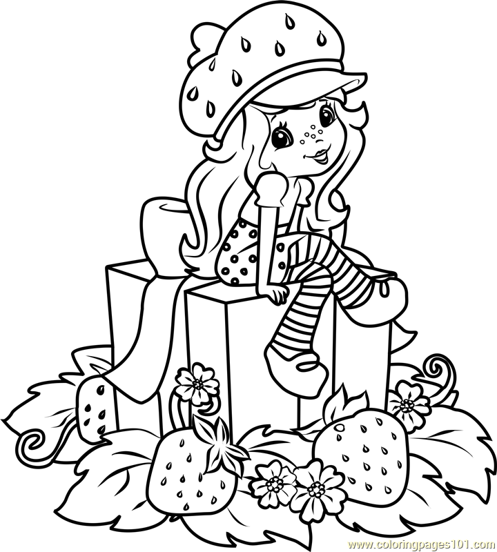 Strawberry Shortcake with Gifts Coloring Page
