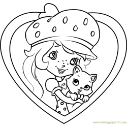 Custard the Cat with Shortcake Free Coloring Page for Kids