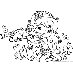 Pupcake with Strawberry Free Coloring Page for Kids