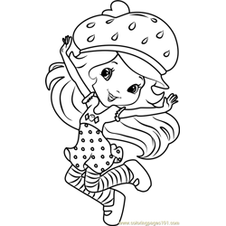 Strawberry Shortcake Dancing Free Coloring Page for Kids