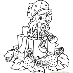 Strawberry Shortcake with Gifts Free Coloring Page for Kids