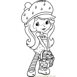 Strawberry Shortcake with Strawberries Free Coloring Page for Kids