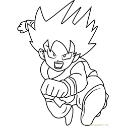 Attacking Goku Free Coloring Page for Kids