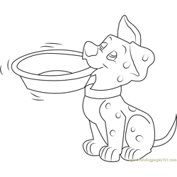 Hungry Dalmatian Free Coloring Page for Kids