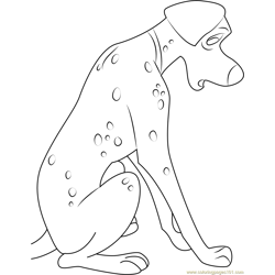 Sad Dalmatian Free Coloring Page for Kids