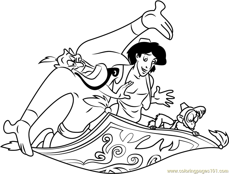 Aladdin Genie Abu on Carpet Coloring Page