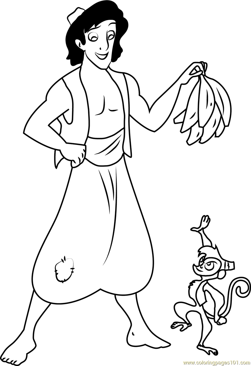 Aladdin give Bananas to Abu Coloring Page