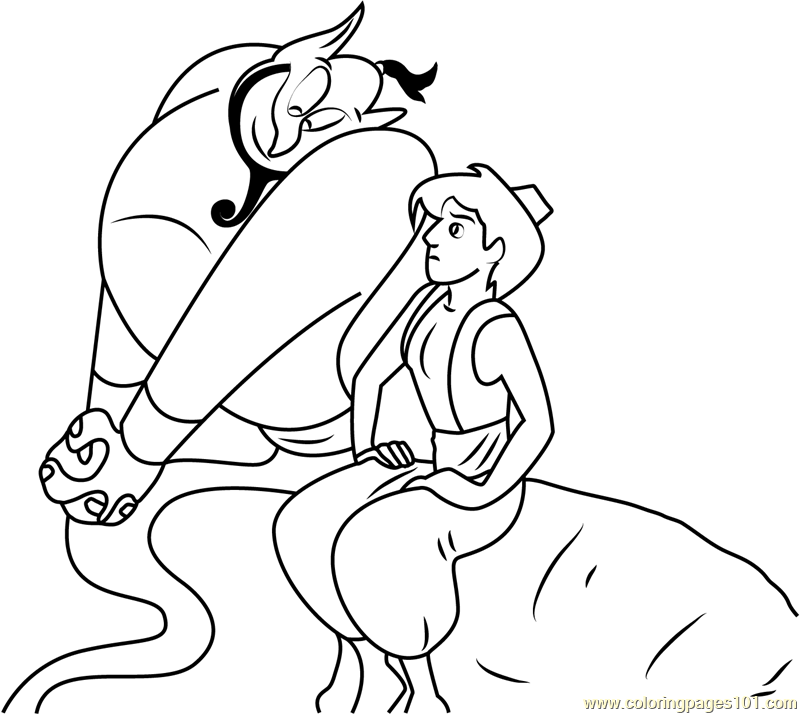 Disney Aladdin and Genie Coloring Page