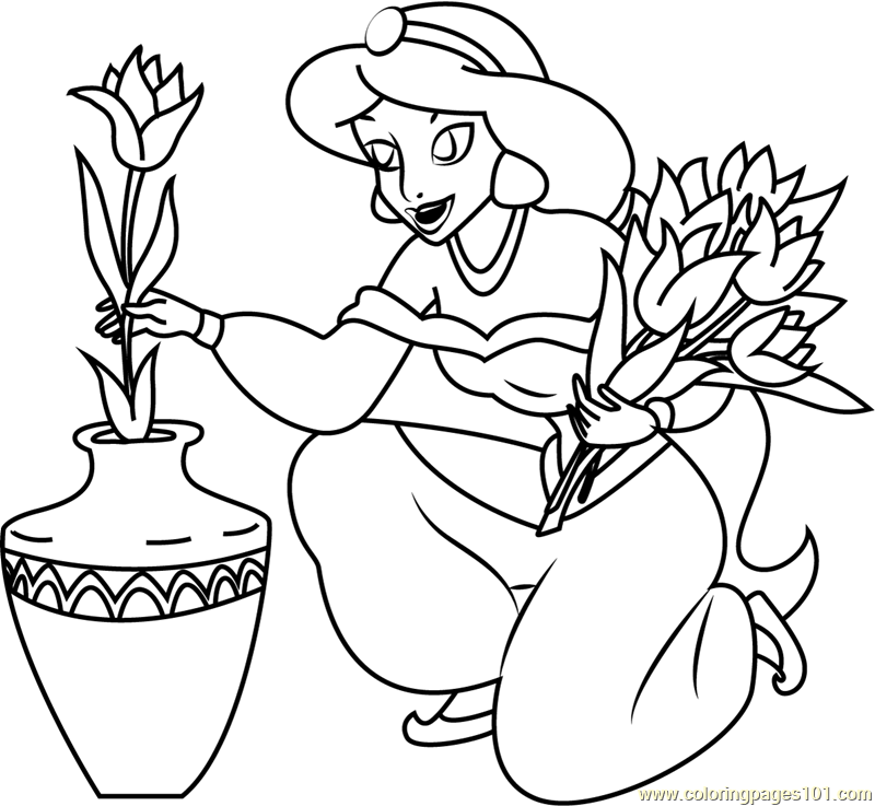 Princess Jasmine filled pot with Flower Coloring Page