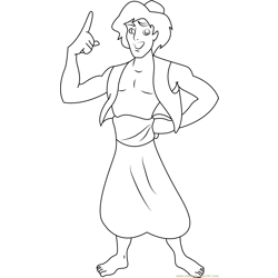 Aladdin Ready to Fight Free Coloring Page for Kids