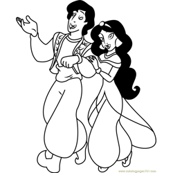 Aladdin and Jasmine are going Free Coloring Page for Kids