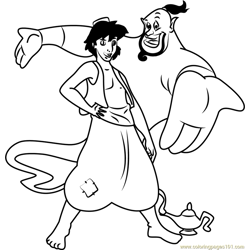 Aladdin and the Genie Free Coloring Page for Kids
