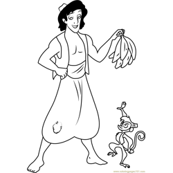 Aladdin give Bananas to Abu Free Coloring Page for Kids