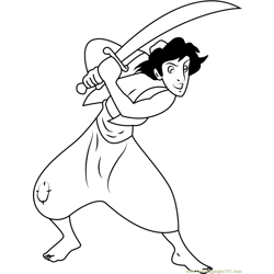 Disney Prince Aladdin Free Coloring Page for Kids