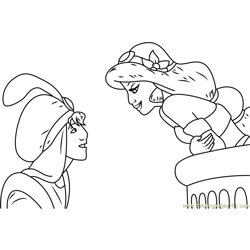 Jasmine and Aladdin Get Together Free Coloring Page for Kids