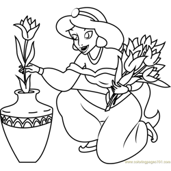 Princess Jasmine filled pot with Flower Free Coloring Page for Kids