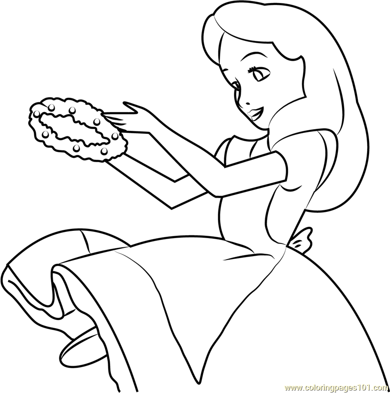 Alice Having Flower Crown Coloring Page