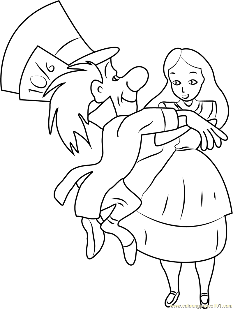 Alice in Wonderland with Mad Hatter Coloring Page - Free Alice in ...