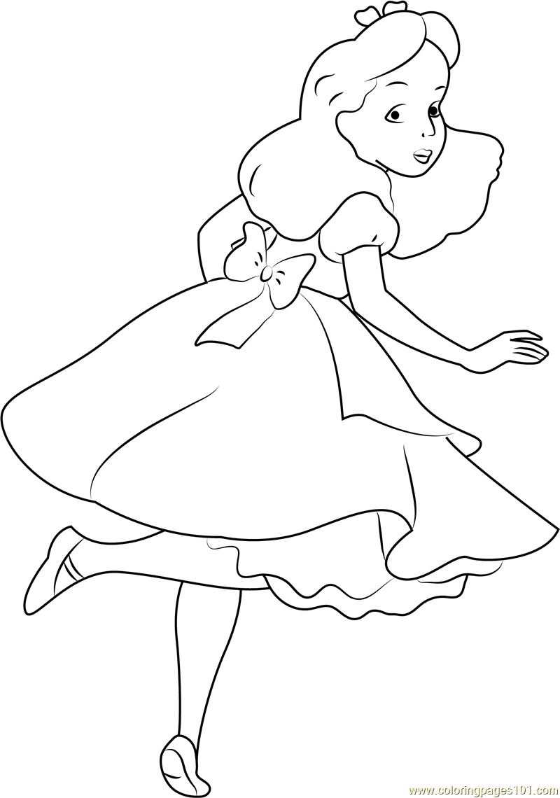 Alice In Wonderland Coloring Pages Pdf : Alice looking back coloring page free in