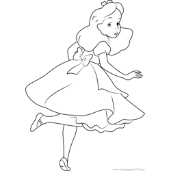 Alice looking Back Free Coloring Page for Kids