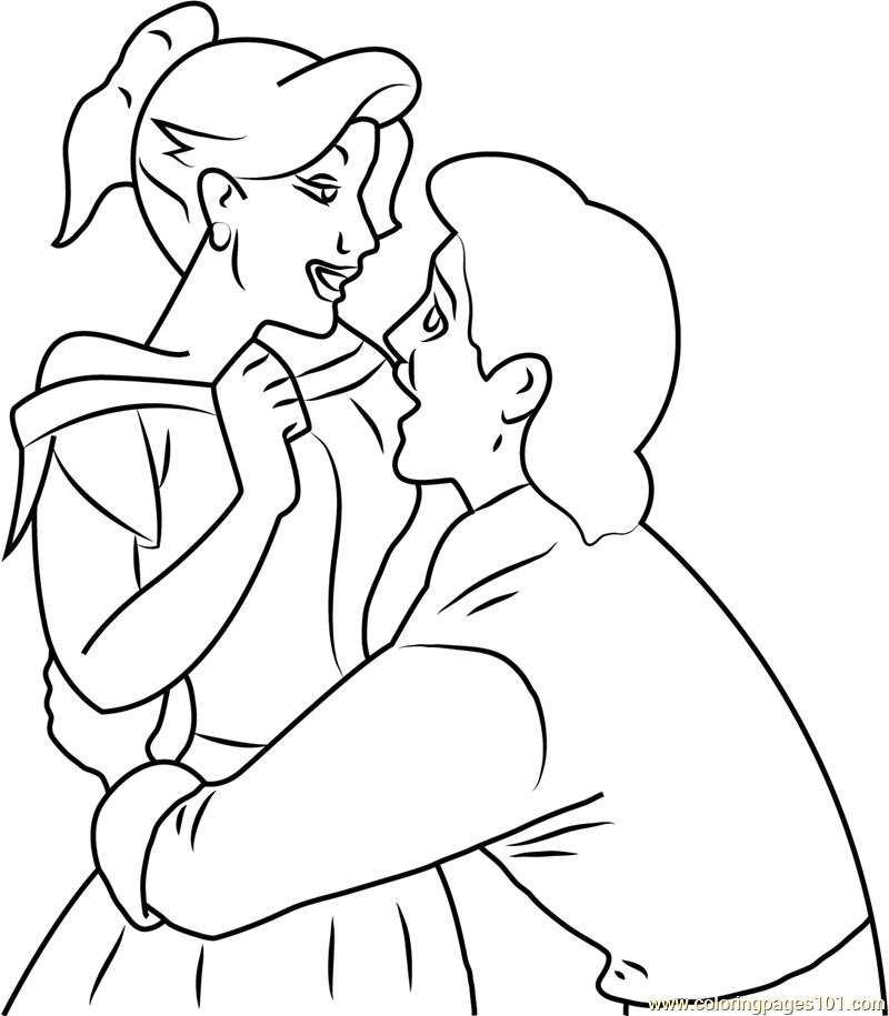 Coloring Page: Gaston And Anastasia In Love Coloring Page