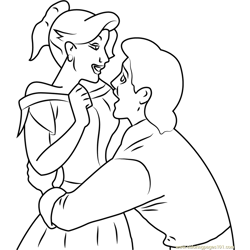 Gaston and Anastasia in Love Free Coloring Page for Kids