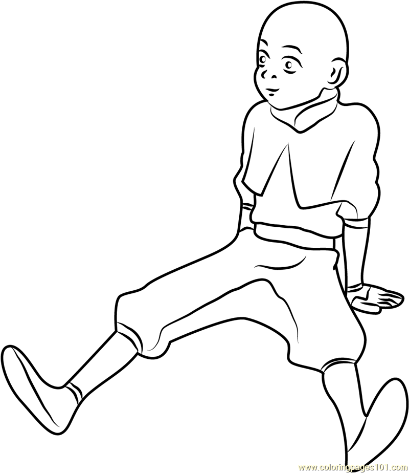 Avatar Aang Thinking Coloring Page