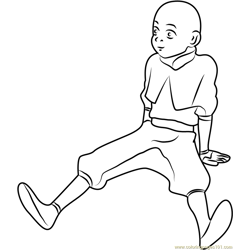 Avatar Aang Thinking Free Coloring Page for Kids
