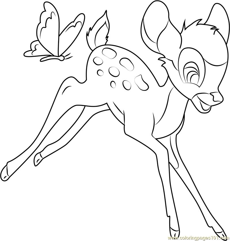 Bambi Coloring Pages Pdf : Bambi with butterfly coloring page free