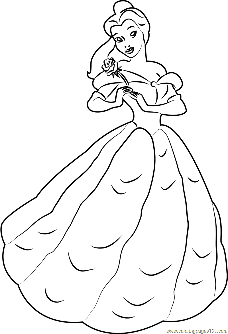 Belle Standing Coloring Page Free Beauty and the Beast