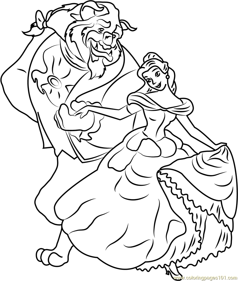 Belle and Beast Coloring Page - Free Beauty and the Beast ...