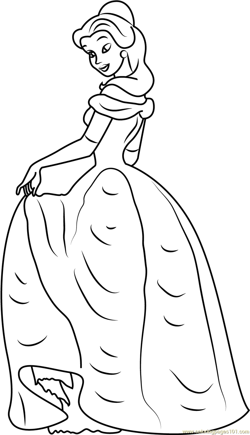 Princess Belle Coloring Page For Kids Free Beauty And The Beast Printable Coloring Pages Online For Kids Coloringpages101 Com Coloring Pages For Kids