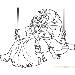 Beauty and the Beast Sitting on Wooden Swing Free Coloring Page for Kids