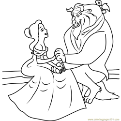Belle and Beast are Sitting Together Free Coloring Page for Kids
