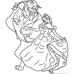 Belle and Beast Free Coloring Page for Kids