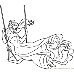 Happy Princess Belle Free Coloring Page for Kids