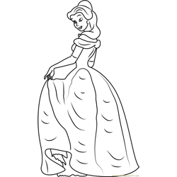 Princess Belle Free Coloring Page for Kids