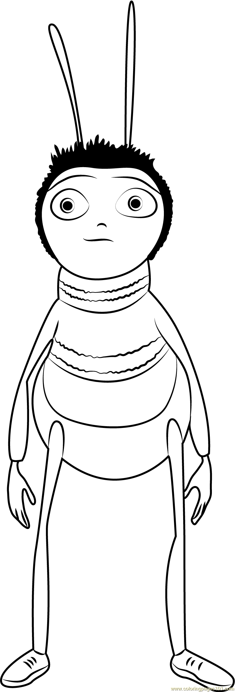 Bee Standing Coloring Page Free