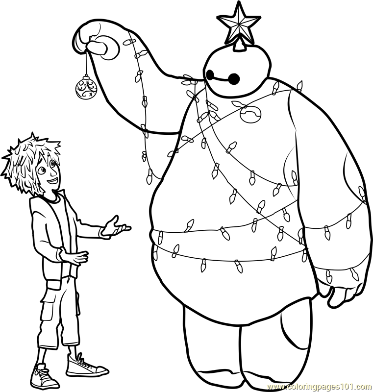 Hiro And Baymax Christmas Coloring Page