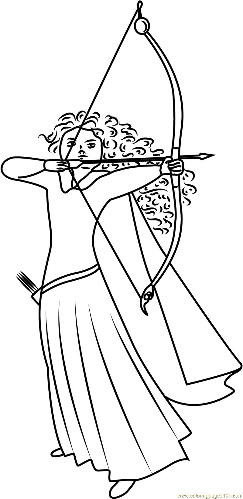 Merida Scottish Princess Coloring Page