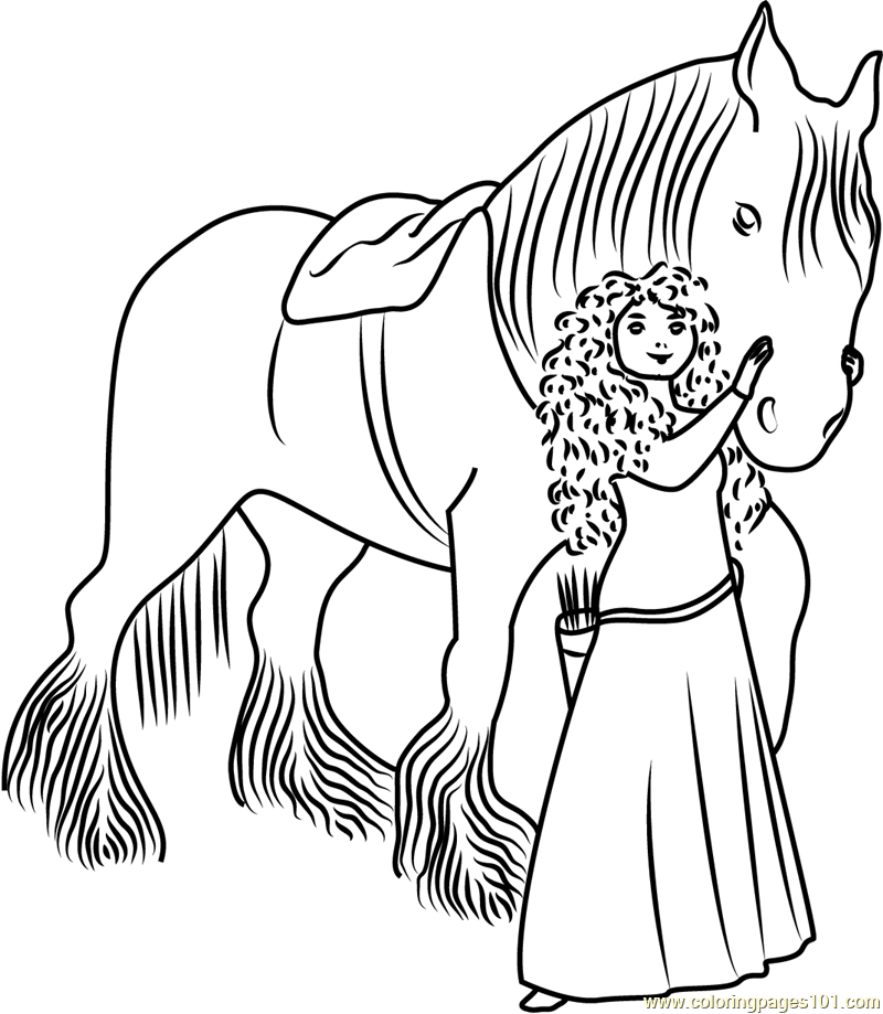 Merida with Horse Coloring Page Free Brave Coloring