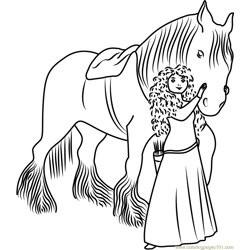 Merida with Horse Free Coloring Page for Kids
