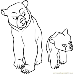 Brother Bear Walking Free Coloring Page for Kids